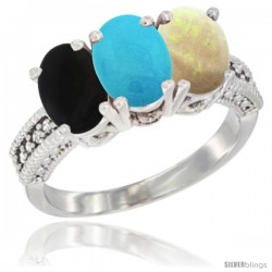 14K White Gold Natural Black Onyx, Turquoise & Opal Ring 3-Stone 7x5 mm Oval Diamond Accent
