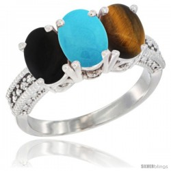14K White Gold Natural Black Onyx, Turquoise & Tiger Eye Ring 3-Stone 7x5 mm Oval Diamond Accent