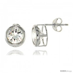 Sterling Silver Brilliant Cut Cubic Zirconia Stud Earrings in Bezel Setting 4 cttw