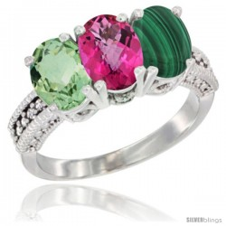 14K White Gold Natural Green Amethyst, Pink Topaz & Malachite Ring 3-Stone 7x5 mm Oval Diamond Accent