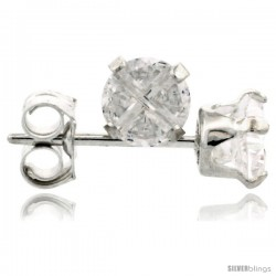 Sterling Silver Cubic Zirconia Stud Earrings 4 mm 1/2 cttw Invisible Cut