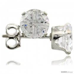 Sterling Silver Cubic Zirconia Stud Earrings 5 mm 1 cttw Invisible Cut