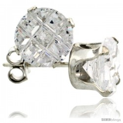 Sterling Silver Cubic Zirconia Stud Earrings 7 mm 2.5 cttw Invisible Cut