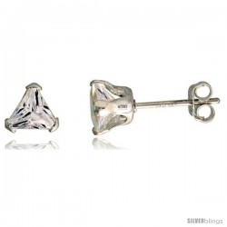 Sterling Silver Cubic Zirconia Stud Earrings 3/4 cttw Trillion Shape