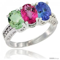 14K White Gold Natural Green Amethyst, Pink Topaz & Tanzanite Ring 3-Stone 7x5 mm Oval Diamond Accent