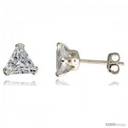 Sterling Silver Cubic Zirconia Stud Earrings 1 1/2 cttw Trillion Shape