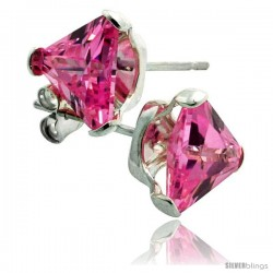 Sterling Silver Cubic Zirconia Stud Earrings 7 mm Triangle Shape Pink Colored 2 1/4 cttw