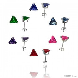 6 pair set Sterling Silver Cubic Zirconia Stud Earrings 7 mm Triangle Shape Emerald, Blue Sapphire, Blue Topaz, Amethyst, Ruby