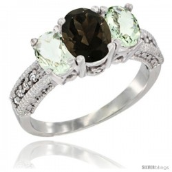14k White Gold Ladies Oval Natural Smoky Topaz 3-Stone Ring with Green Amethyst Sides Diamond Accent