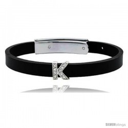 Sterling Silver Block Initial Letter K Alphabet Charm with CZ Stones, for use with 8 mm Flat Rubber Bracelets