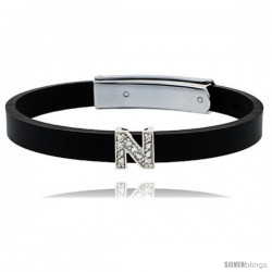 Sterling Silver Block Initial Letter N Alphabet Charm with CZ Stones, for use with 8 mm Flat Rubber Bracelets