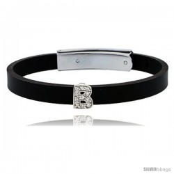 Sterling Silver Block Initial Letter B Alphabet Charm with CZ Stones, for use with 8 mm Flat Rubber Bracelets