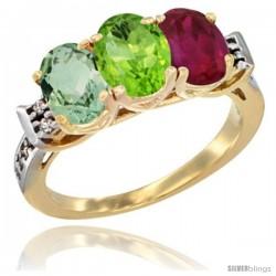 10K Yellow Gold Natural Green Amethyst, Peridot & Ruby Ring 3-Stone Oval 7x5 mm Diamond Accent