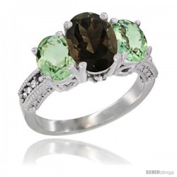 14K White Gold Ladies 3-Stone Oval Natural Smoky Topaz Ring with Green Amethyst Sides Diamond Accent