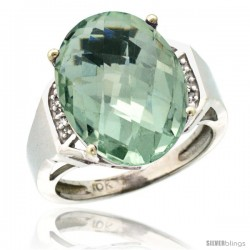 10k White Gold Diamond Green-Amethyst Ring 9.7 ct Large Oval Stone 16x12 mm, 5/8 in wide