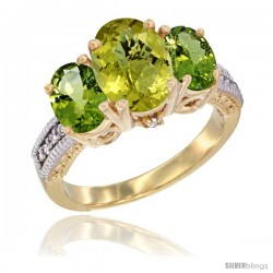 14K Yellow Gold Ladies 3-Stone Oval Natural Lemon Quartz Ring with Peridot Sides Diamond Accent