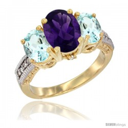14K Yellow Gold Ladies 3-Stone Oval Natural Amethyst Ring with Aquamarine Sides Diamond Accent