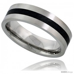 Surgical Steel 6mm Wedding Band Ring Black Stripe Inlay Center Matte Finish Comfort-fit