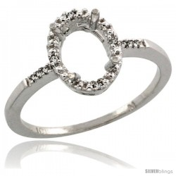10k White Gold Semi-Mount ( 8x6 mm ) Oval Stone Ring w/ 0.033 Carat Brilliant Cut Diamonds, 13/32 in. (10.5mm) wide