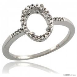 10k White Gold Semi-Mount ( 8x6 mm ) Oval Stone Ring w/ 0.033 Carat Brilliant Cut Diamonds, 13/32 in. (10.5mm) wide