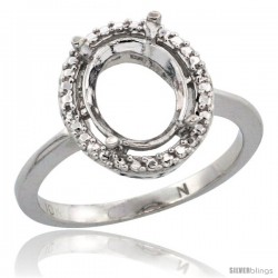 10k White Gold Semi-Mount ( 10x8 mm ) Oval Stone Ring w/ 0.098 Carat Brilliant Cut Diamonds, 1/2 in. (13mm) wide