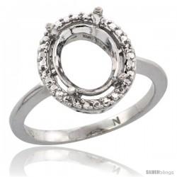 10k White Gold Semi-Mount ( 10x8 mm ) Oval Stone Ring w/ 0.098 Carat Brilliant Cut Diamonds, 1/2 in. (13mm) wide