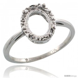 10k White Gold Semi-Mount ( 8x6 mm ) Oval Stone Ring w/ 0.04 Carat Brilliant Cut Diamonds, 3/8 in. (10mm) wide