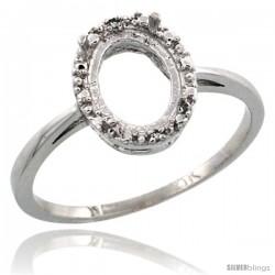 10k White Gold Semi-Mount ( 8x6 mm ) Oval Stone Ring w/ 0.04 Carat Brilliant Cut Diamonds, 3/8 in. (10mm) wide