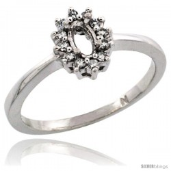 10k White Gold Semi-Mount ( 5x3 mm ) Oval Stone Ring w/ 0.097 Carat Brilliant Cut Diamonds, 11/32 in. (8.5mm) wide