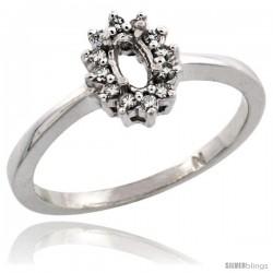 10k White Gold Semi-Mount ( 5x3 mm ) Oval Stone Ring w/ 0.097 Carat Brilliant Cut Diamonds, 11/32 in. (8.5mm) wide