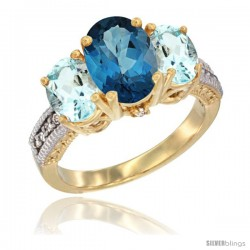 14K Yellow Gold Ladies 3-Stone Oval Natural London Blue Topaz Ring with Aquamarine Sides Diamond Accent