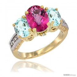 14K Yellow Gold Ladies 3-Stone Oval Natural Pink Topaz Ring with Aquamarine Sides Diamond Accent