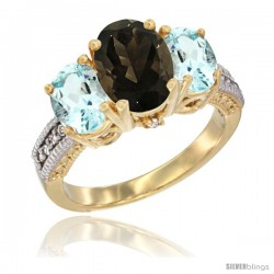 14K Yellow Gold Ladies 3-Stone Oval Natural Smoky Topaz Ring with Aquamarine Sides Diamond Accent