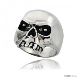 Surgical Steel Biker Skull Ring with Fangs 15/16 in long