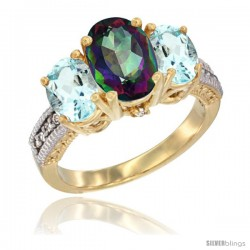 14K Yellow Gold Ladies 3-Stone Oval Natural Mystic Topaz Ring with Aquamarine Sides Diamond Accent