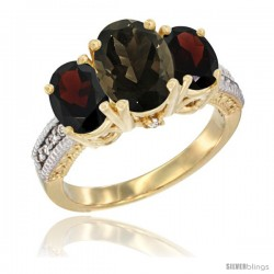 10K Yellow Gold Ladies 3-Stone Oval Natural Smoky Topaz Ring with Garnet Sides Diamond Accent