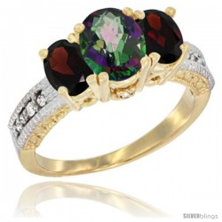 10K Yellow Gold Ladies Oval Natural Mystic Topaz 3-Stone Ring with Garnet Sides Diamond Accent