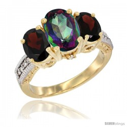 10K Yellow Gold Ladies 3-Stone Oval Natural Mystic Topaz Ring with Garnet Sides Diamond Accent