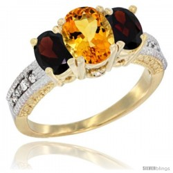 10K Yellow Gold Ladies Oval Natural Citrine 3-Stone Ring with Garnet Sides Diamond Accent