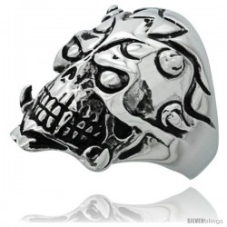 Surgical Steel Biker Ring Tribal Skull with horns and Tattoos 1 3/16 in long
