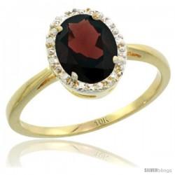 10k Yellow Gold Garnet Diamond Halo Ring 1.17 Carat 8X6 mm Oval Shape, 1/2 in wide