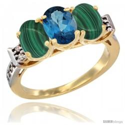 10K Yellow Gold Natural London Blue Topaz & Malachite Sides Ring 3-Stone Oval 7x5 mm Diamond Accent