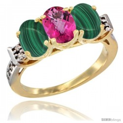 10K Yellow Gold Natural Pink Topaz & Malachite Sides Ring 3-Stone Oval 7x5 mm Diamond Accent