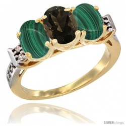 10K Yellow Gold Natural Smoky Topaz & Malachite Sides Ring 3-Stone Oval 7x5 mm Diamond Accent