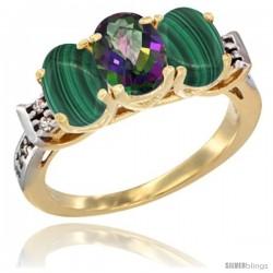 10K Yellow Gold Natural Mystic Topaz & Malachite Sides Ring 3-Stone Oval 7x5 mm Diamond Accent