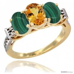 10K Yellow Gold Natural Citrine & Malachite Sides Ring 3-Stone Oval 7x5 mm Diamond Accent