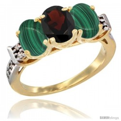 10K Yellow Gold Natural Garnet & Malachite Sides Ring 3-Stone Oval 7x5 mm Diamond Accent