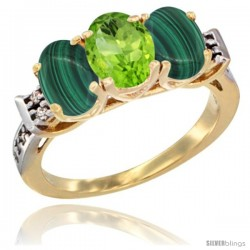 10K Yellow Gold Natural Peridot & Malachite Sides Ring 3-Stone Oval 7x5 mm Diamond Accent