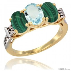 10K Yellow Gold Natural Aquamarine & Malachite Sides Ring 3-Stone Oval 7x5 mm Diamond Accent