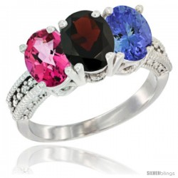 14K White Gold Natural Pink Topaz, Garnet & Tanzanite Ring 3-Stone 7x5 mm Oval Diamond Accent